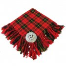 Traditional Scottish Wear Wallace Tartan Traditional Purled & Fringed Fly Plaid