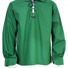 5XL Green Traditional Men Scottish Jacobean Jacobite Shirt Ghillie Kilt Shirt