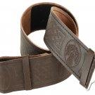 46 Size Brown Embossed Kilt Belt Real Black Leather Kilt Belt for Traditional Kilts