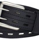 Black Leather Utility Kilt Belt Double Pronged Removable Buckle