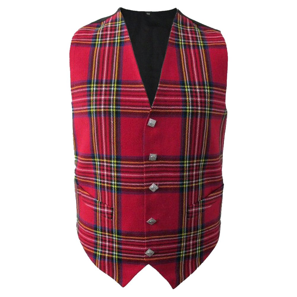 38 Size New Men Scottish Highland Waistcoat Royal Stewart Tartan With Thistle Buttons