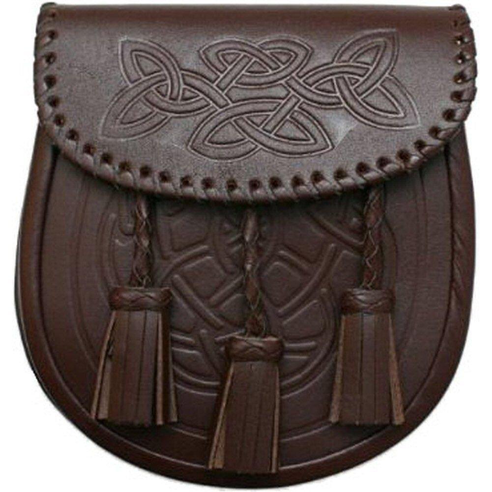 Men Embossed Scottish Brown Celtic Kilt Sporran With Metal Thistle Loin Rampant