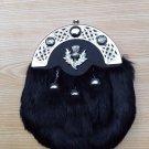 Scottish Black Rabbit Fur 3 Tassel Leather Kilt SPORRAN & Belt