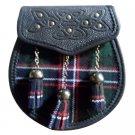 Scottish Black Pride of Scotland Sporran 3 Tassel Leather Kilt SPORRAN & Belt