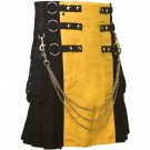 Size 44 Black & Yellow Hybrid Cotton Kilt with Cargo Pockets Chrome Chains Utility Kilt
