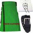 Green Net Pocket Kilt for Active Men Custom Size 34