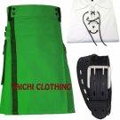 New Scottish Highland Active Men's Modern Pocket Green Cotton Kilts