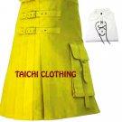 Raised Cotton Yellow Brutal Grace Kilt for Active Men Scottish Deluxe Utility kilt