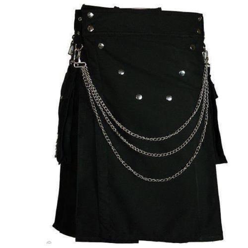 54 Size Handmade Men Black Utility Modern Kilt 100% Cotton With Chrome Chain Custom