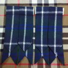 Mens Scottish Kilt Hose Sock Flashes Blue Douglas Tartan/Blue Douglas Flashes