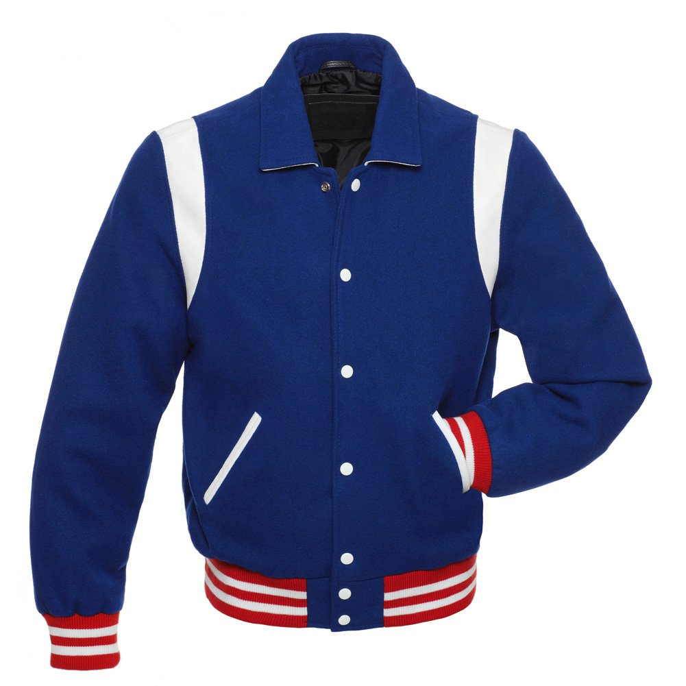 Royal Varsity Jacket Wool Body & Red Stripes Baseball Quilted LETTERMAN Jacket