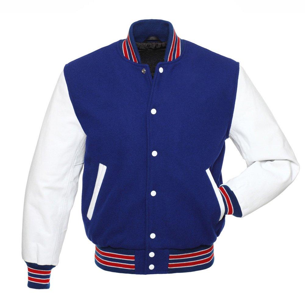 Royal Blue Wool , Blue Wool Arms, Red Stripes Letterman Varsity Hoodie Jacket