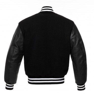Black Wool Black Leather Arms, Red Stripes Letterman Varsity Hoodie Jacket