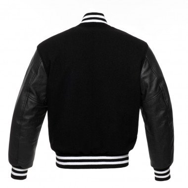 Black Wool Body & Black Leather College Baseball Letterman Varsity Jacket
