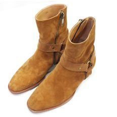 Handmade Mens brown color ankle high boots, Men genuine suede boot