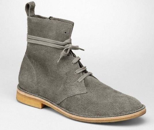 HANDMADE MENS SUEDE GRAY BOOTS WITH CREPE SOLE, LACE UP ANKLE SHOE