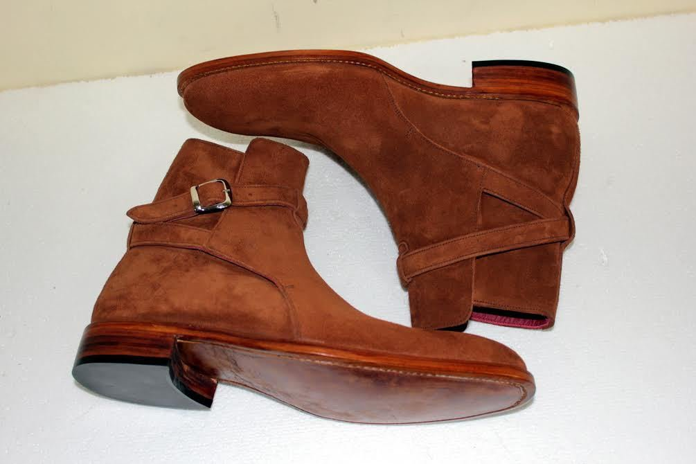 Men's Tan Brown Suede Jodhpurs Boot, Men�s Ankle Suede Boots FAST SHIPPING
