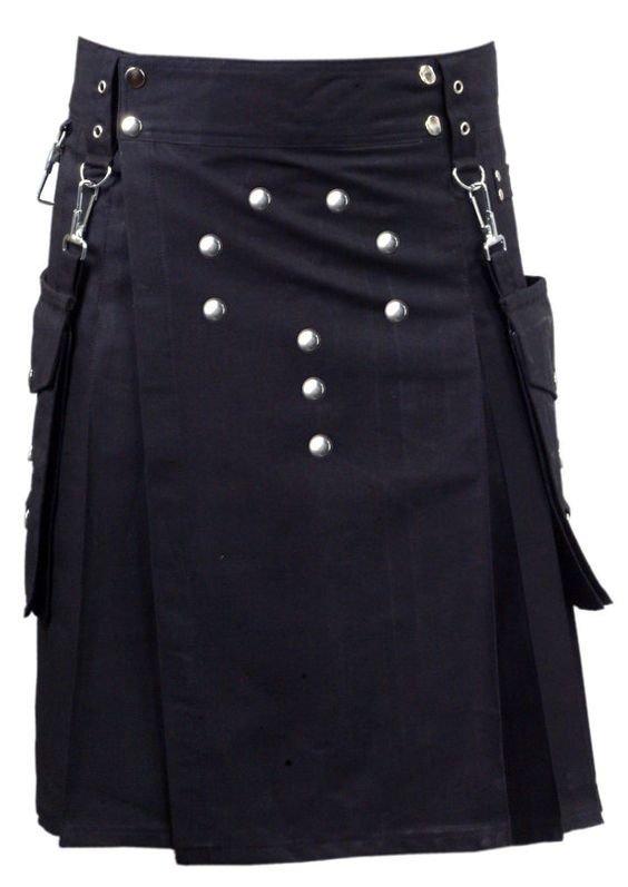 32 Size New Black Cotton Kilt Front 9 Buttons Round Shape Pure Cotton Kilt