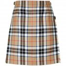Size 32 Ladies Billie Back Pleated Kilt Knee Length Skirt in Camel Thompson Tartan