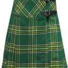 Size 30 Ladies Irish National Pleated Kilt Knee Length Skirt in Irish National Tartan