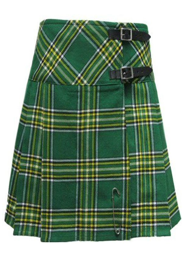 Size 36 Ladies Irish National Pleated Kilt Knee Length Skirt in Irish National Tartan