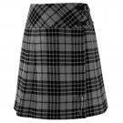 Size 32 Ladies Grey Watch Pleated Kilt Knee Length Skirt in Grey Watch Tartan