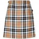 Size28 Ladies Billie Back Pleated Kilt Knee Length Skirt in Camel Thompson Tartan