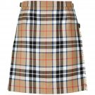 Size 36 Ladies Billie Back Pleated Kilt Knee Length Skirt in Camel Thompson Tartan