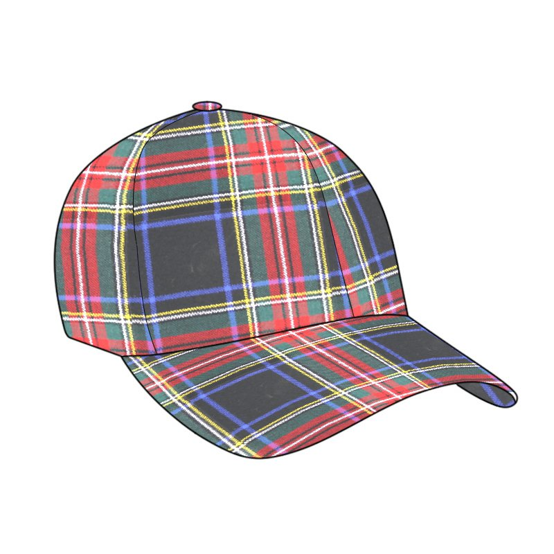 Black Stewart Tartan Baseball Golf Cap