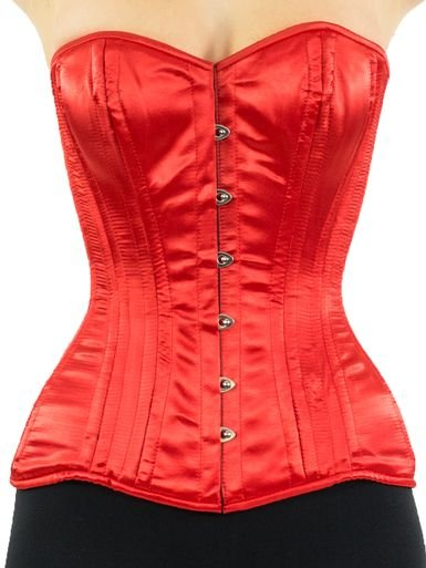 Red Satin Corset Overbust Bustier Fullbust Steel Boned Victorian Gothic Shaper