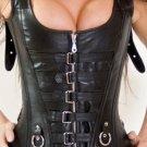 Front Striped & Zipper Steel Bone Leather Under bust Corset Bustier Waist training Shaper