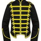 2XL Size Handmade Men Black/Yellow Military Marching Band Drummer Jacket