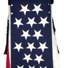 36 Size USA Flag Hybrid Utility Kilt With Cargo Pockets Tactical Kilt with Custom Patterns