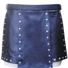 38 Size Real Leather Gladiator Kilt with Stud Work Custom Made in Black Blue Red