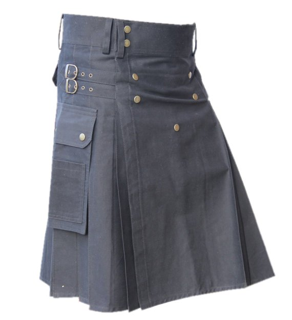 36 Size Cargo Pockets Black Cotton Deluxe Gothic Kilt Handmade Utility Kilt