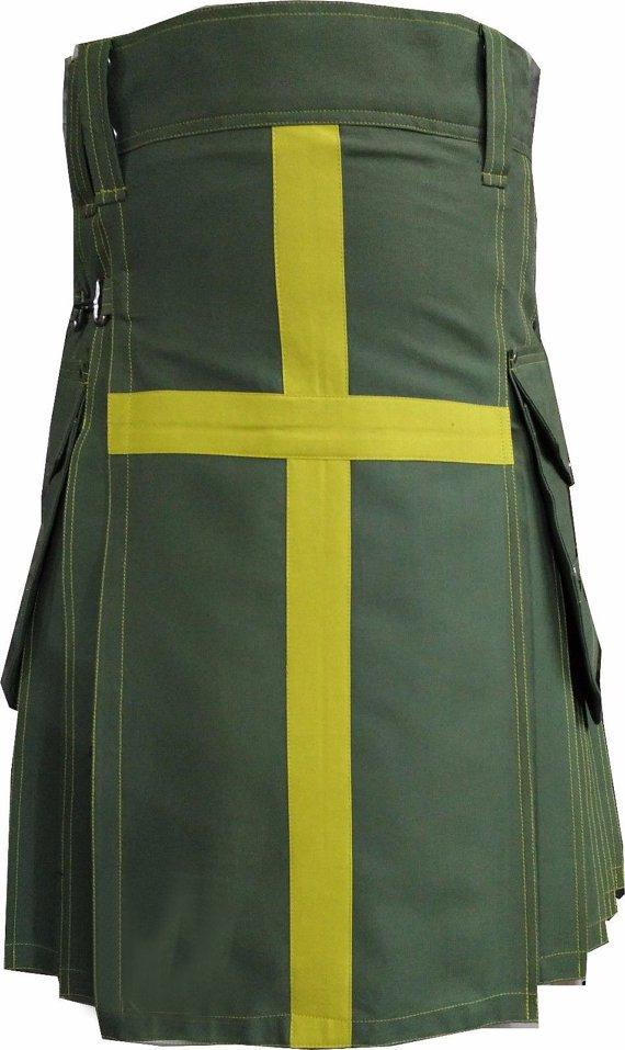 30 Size Olive Green Cross Cargo Pockets Cotton Deluxe Utility Kilt Handmade Utility Kilt