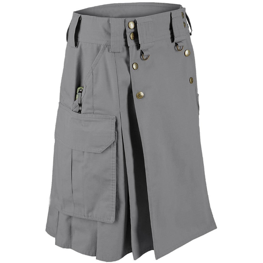 New Men's Handmade Grey Cotton Utility Kilt with Cargo Pockets