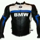 Mens Racing Motorbike Racing Blue Line Black Leather Jacket Safety Pads For Bmw