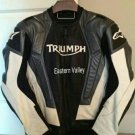 New Men's Triumph Black/White Motorcycle Racing 100% Cowhide Leather Jacket