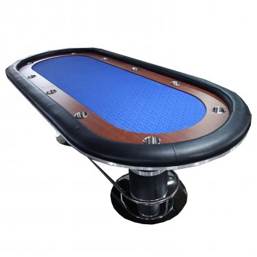 "96"" Texas Hold'em Poker Table Blue With Wooden Racetrack & Cup Holder"
