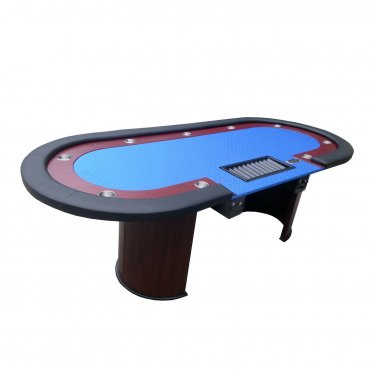 "96"" Texas Hold'em Wooden Legs Poker Table W/ Drop Box Chip Tray"