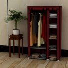 "39"" Portable Home Wardrobe Storage Closet Organizer Rack with Shelves Claret"