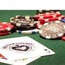 50pcs Matte Caracas Star Clay Poker Chips $100 Black 14 Gram