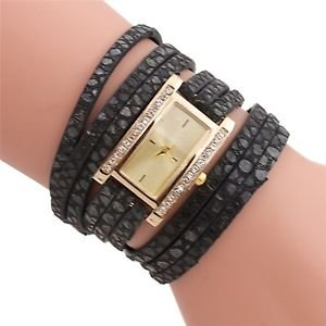 New Women Fashion Rectangle Dial Analog Quartz Watch Lady PU Leather Band Wri...