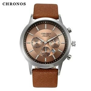 Relojes Mujer 2016 CHRONOS Men Quartz Watches Leather Casual Wrist watches fo...