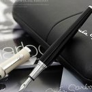 Greta Garbo luxury monte black fountain pen with pearl silver clip roller bal...