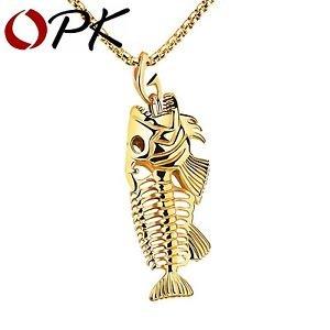 OPK Fish Bone & Fishing Hook Pendant Necklaces Punk Style Men 316L Steel Link...