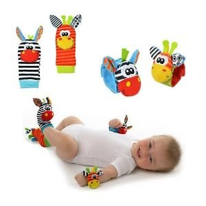 New A Pair Baby Infant Toy Soft Handbells Hand Wrist Strap Rattles/Animal Soc...