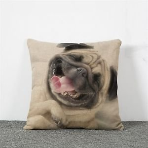 Pillow case Laughing Dog Pag Cotton Linen Cushion Bull Terrier Animal Sofa
