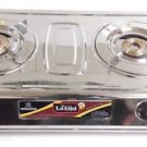 FULL STAINLESS STEEL BODY 2 BRASS BURNER GAS STOVE COOKTOP HOB LPG PROPANE SLEEK
